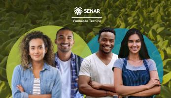 Banner com personagens da campanha SENAR e-Tec 2021-2